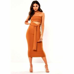 Missguided Rust Brown Cutout Belted Maxi Dress